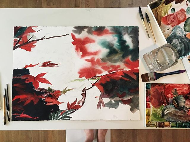 My table currently. Painting Japanese maple leaves.