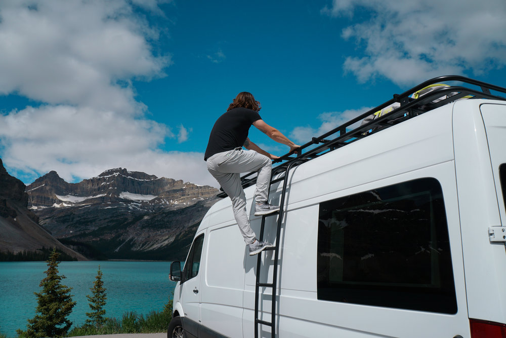 vanlife mercedes sprinter van conversion solar panels mount aluminess rack 40 hours of freedom