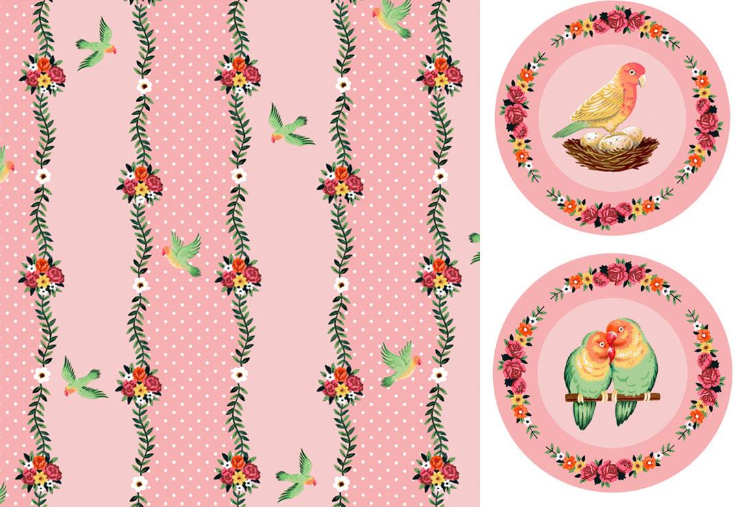 Love Birds Stripe - Plates