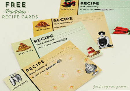 free recipe cards from The Graphics Fairy