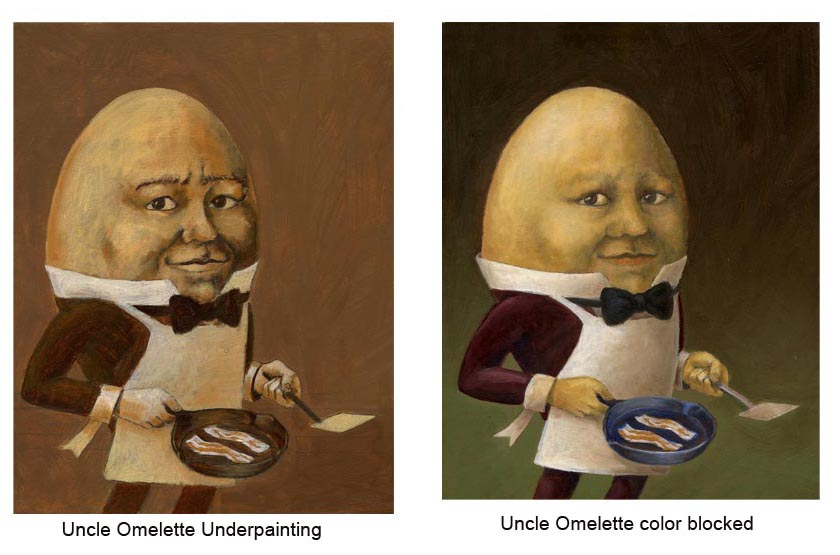 Uncle Omelette Painting Stages 2. Lisa Zador