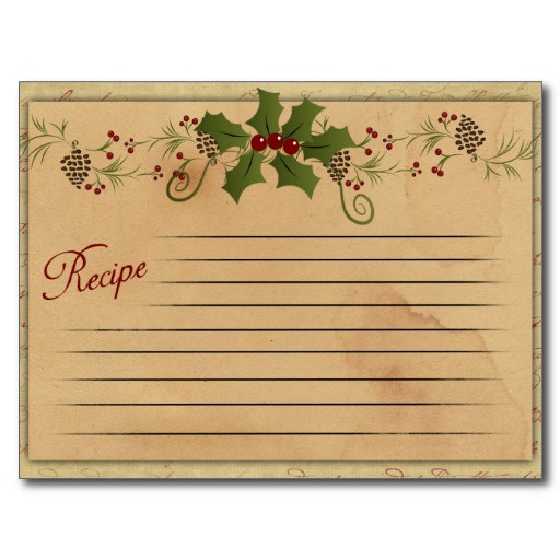vintage christmas recipe card