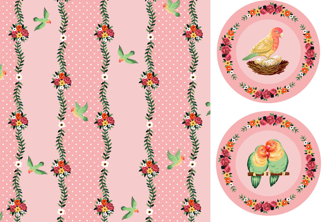 Love Birds Stripe - Plates