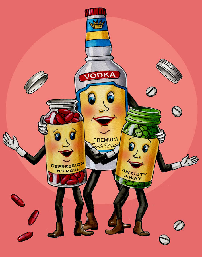Anthropomorphic Pills and Booze - www.thecuriouskitchen.etsy.com