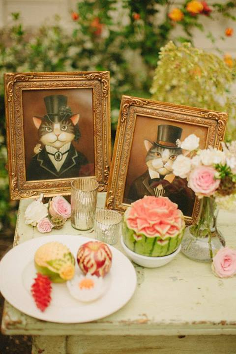 Matching Victorian Cat Portraits