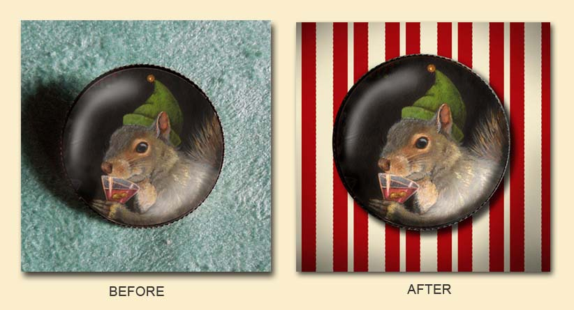 Christmas Elf Squirrel before and after