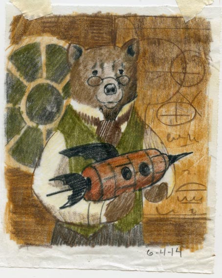 Bear Scientist Portrait sketch