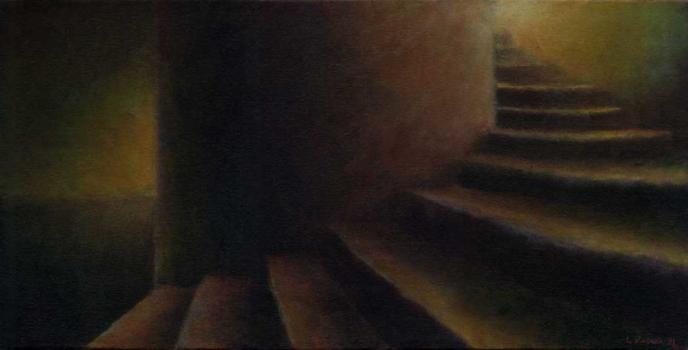 This is one of a series of many drawings and paintings of staircases that continued over the course of nearly a decade.