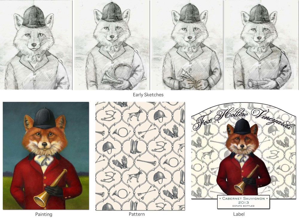 Fox-Painting-Pattern-Label-Sketches