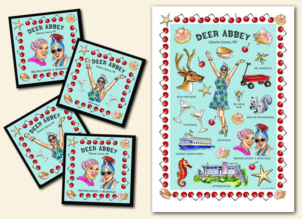 custom coasters and kitchen towel deer abbey
