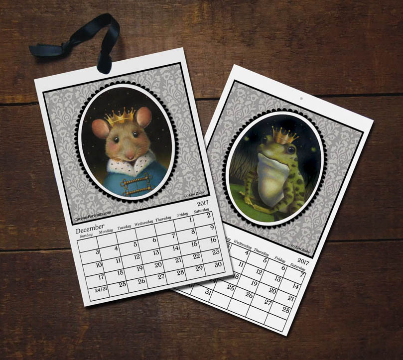For the new 2017 calendar I up-dated the look using new animal portraits and put the dates in a grid which many of you requested for the 2016 calendar.