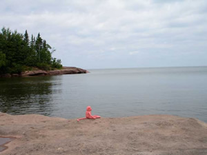 Sometimes they pack a picnic and take a day-trip to Lake Superior, which is the biggest fresh-water lake in the world! Here is  Watermelon, contemplating nature on the shores of the big lake.The Iroqois name for Lake Superior is Gitche Goomee, which means big water.