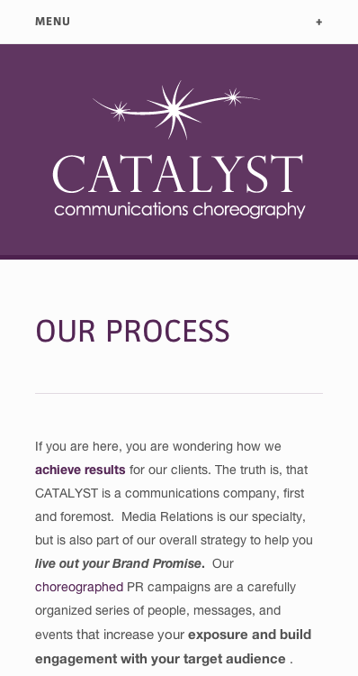 Mobile version of the Catalyst PR website