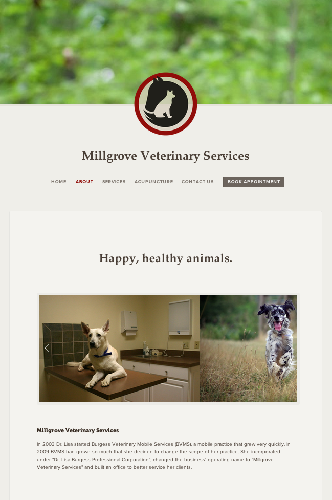 Desktop version of the Millgrove Vet website.
