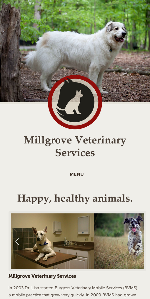 Mobile version of the Millgrove Vet website