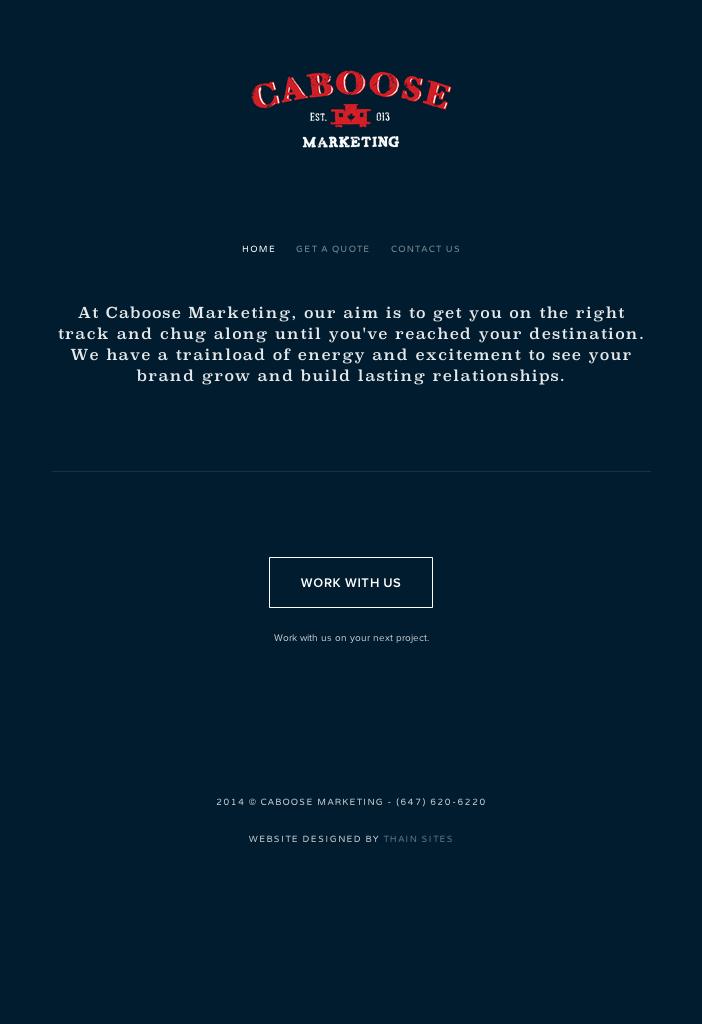 Desktop version of the Caboose Marketing website.