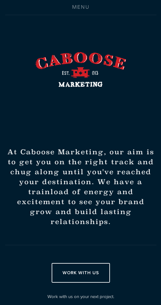Mobile version of the Caboose Marketing website