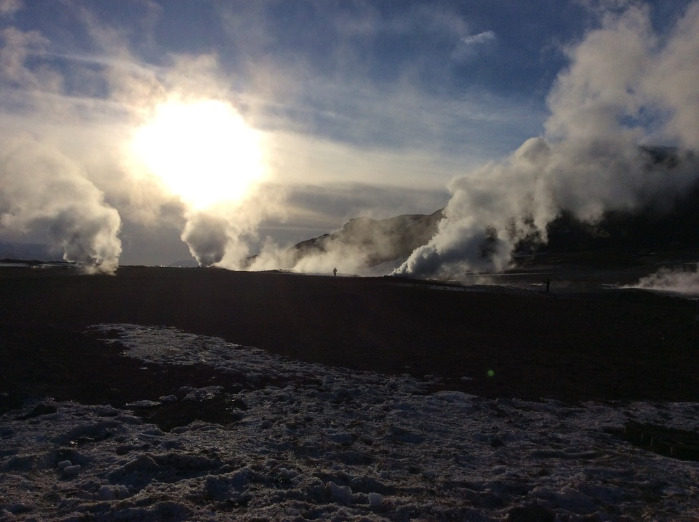 Geothermal field emitting sulfur-laden gases