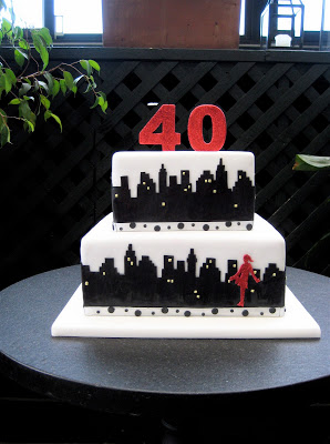 This is another cake we created with an evening version of the NYC skyline, but for a 40th birthday.