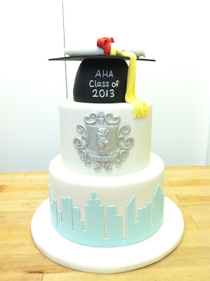 The classic graduation cap and diploma topped off the cake.