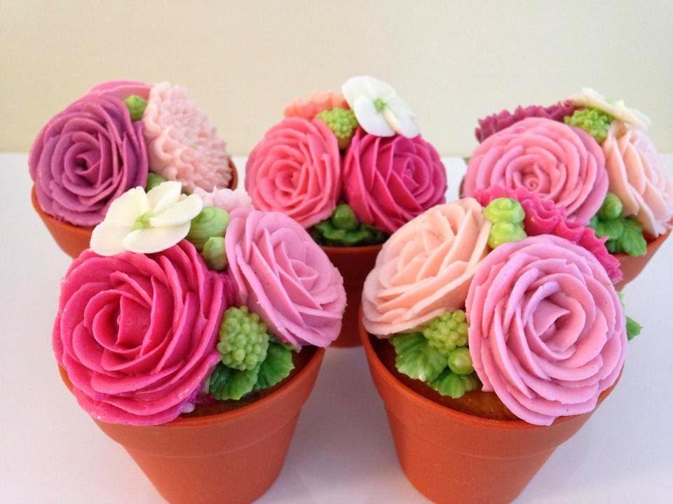Flower pot cupcakes — Eat Cake Be Merry - Custom Cakes NY/NJ
