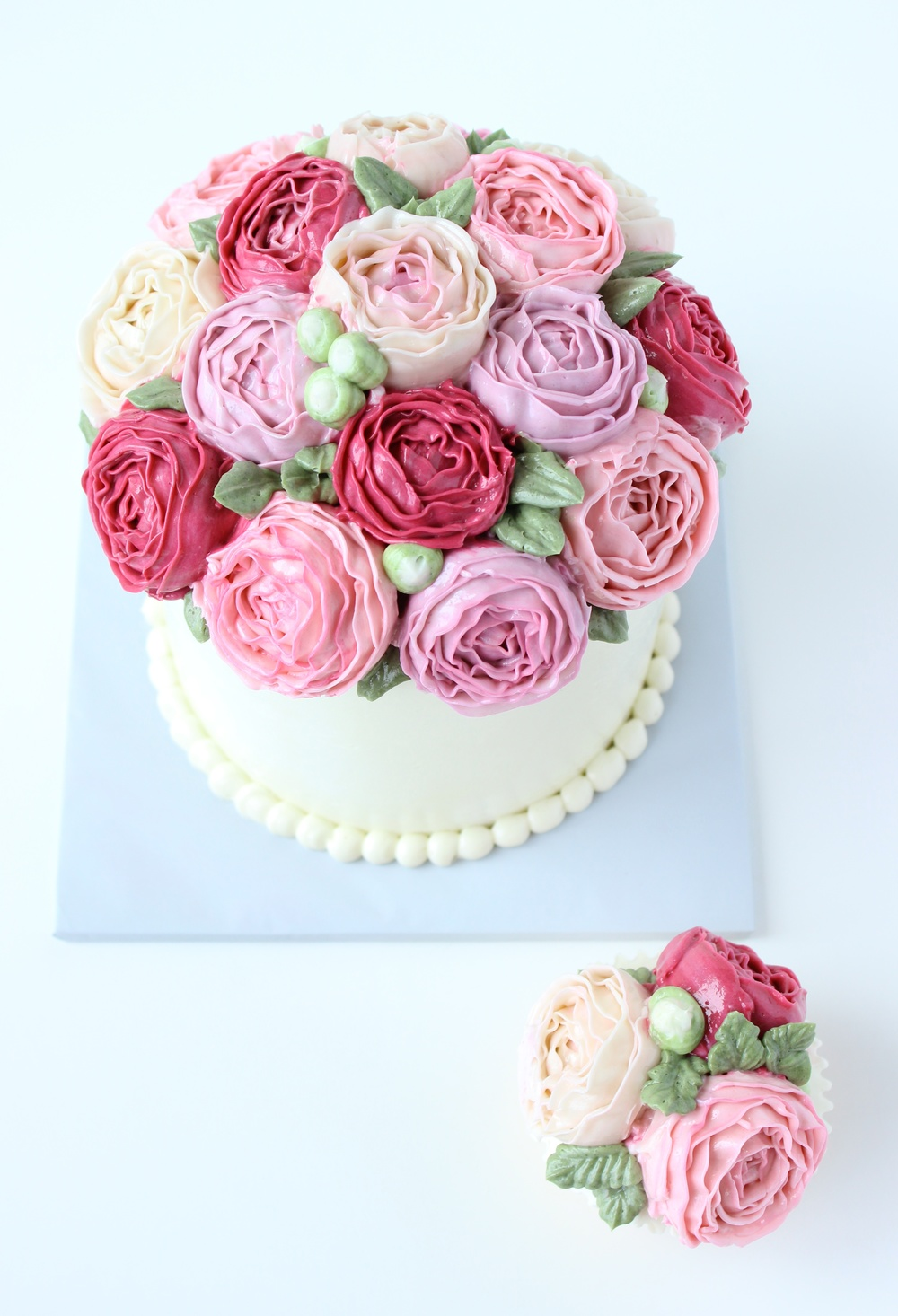Pink buttercream bouquet cake eat cake be merry custom cakes nynj pink buttercream bouquet cake izmirmasajfo
