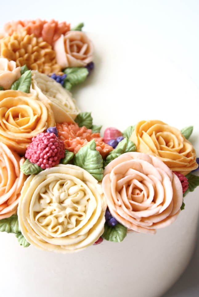 Buttercream rose english rose flower cake