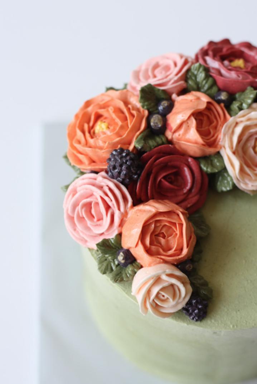 Buttercream peony rose flower cake