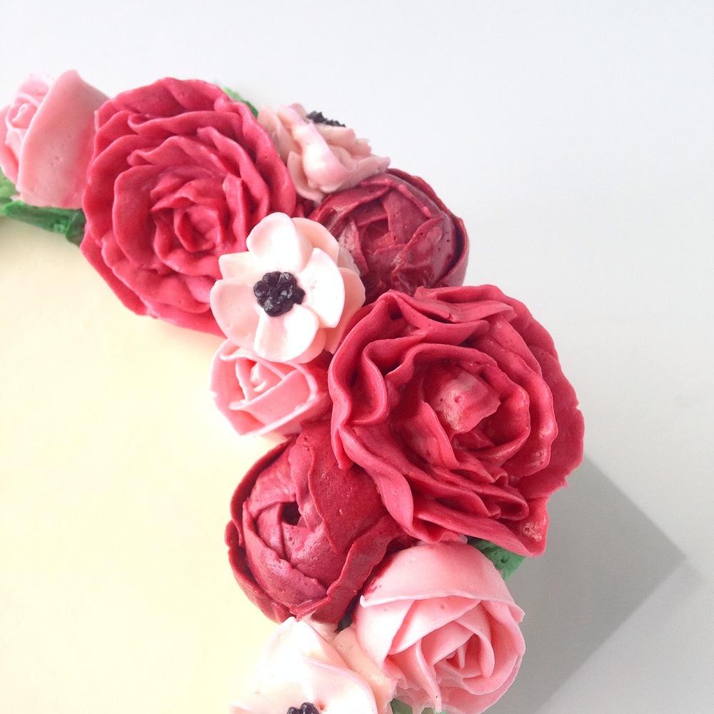 Pink Felt Buttercream Flower Cake Eat Cake Be Merry Custom Cakes