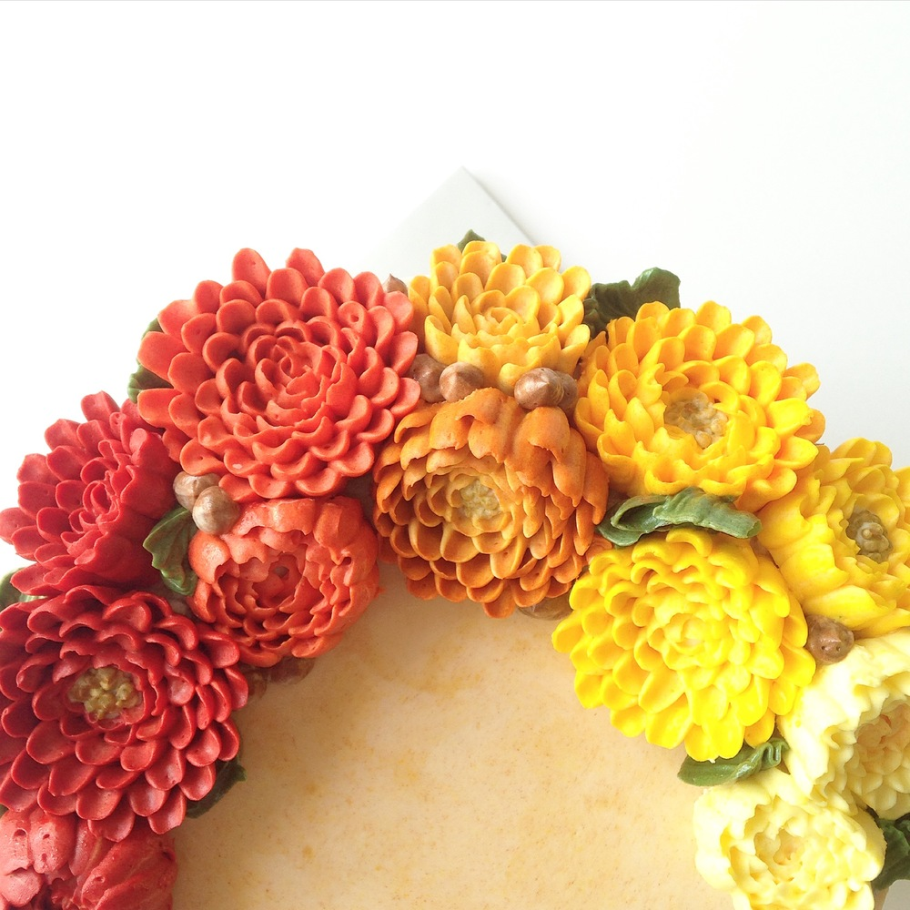 Buttercream chrysanthemum flower cake
