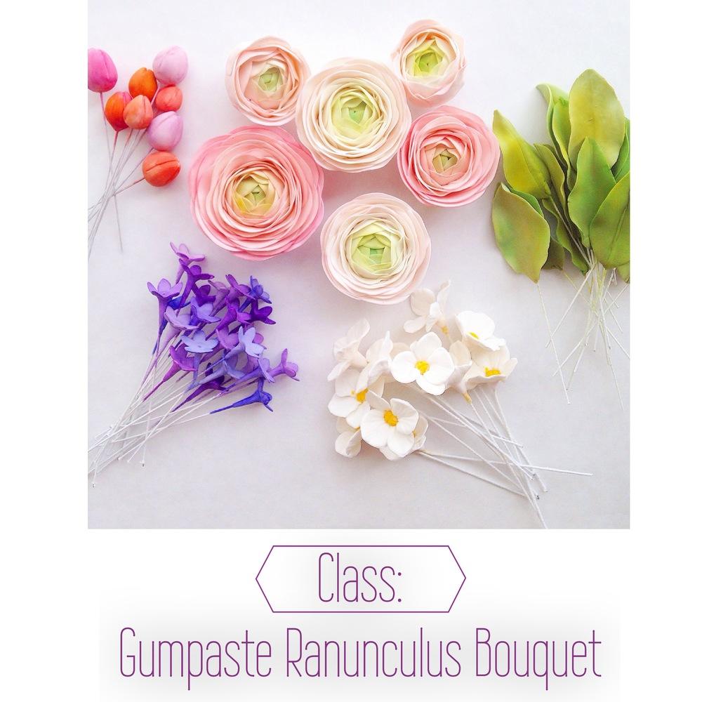 Private Gumpaste Ranunculus Bouquet Class Eat Cake Be Merry