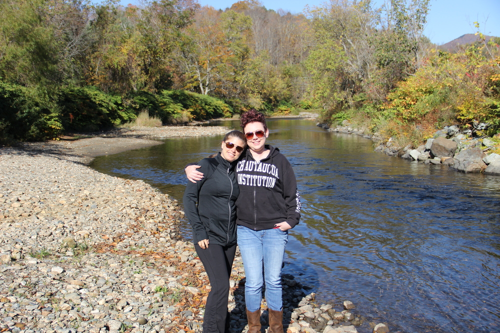 Dr. Rhea Zimmerman with long time friend Melissa Sivvy while on tour with Love Bomb in New England during the fall of 2014.