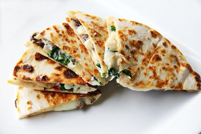 Recipe: Spinach, Sundried Tomato, Mushroom, and Goat Cheese Quesadilla ...