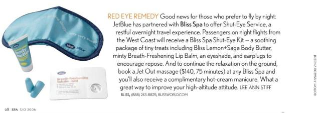 Bliss Spa + JetBlue promo for Spa Magazine