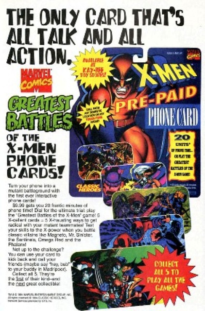 Marvel Comics ad for X-Men phone cards