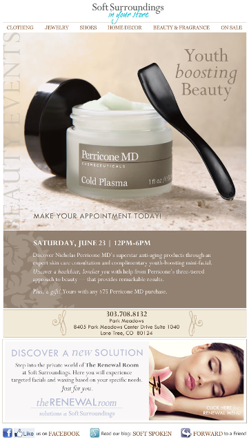 Perricone MD beauty event email for Soft Surroundings