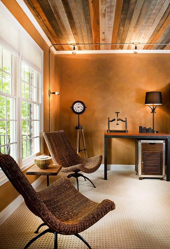 Home Office Painted Wood Ceiling With Exposed Conduit Lighting