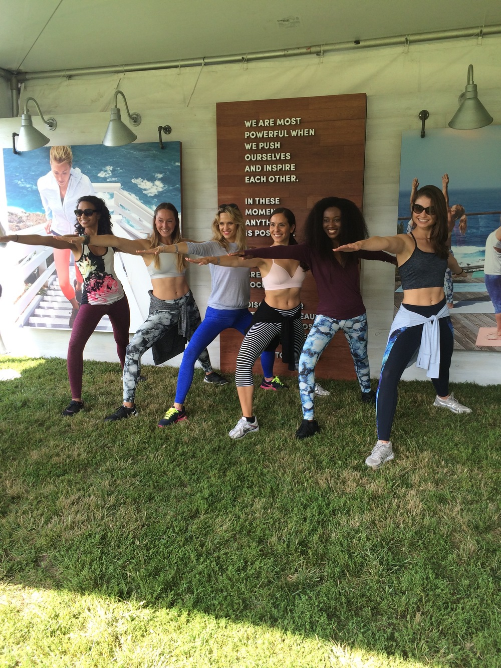 Athleta spokesmodels in all Athleta looks at the Wanderlust Festival in Prospect Park, Brooklyn.  I'm in the middle wearing Athleta pants, bra, and sweater.