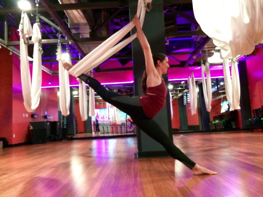 Top by Free People Movement, yoga pants by Head.  Taken after an antigravity yoga class at Crunch gym.