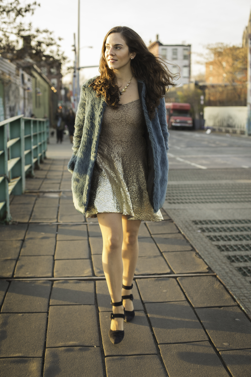 "Free People  ""Reflected Moonlight"" dress, vintage shoes,  Topshop  faux fur jacket, and  JCrew  statement necklace.  Shot on the Gowanus canal in Brooklyn by  Francisco Graciano ."
