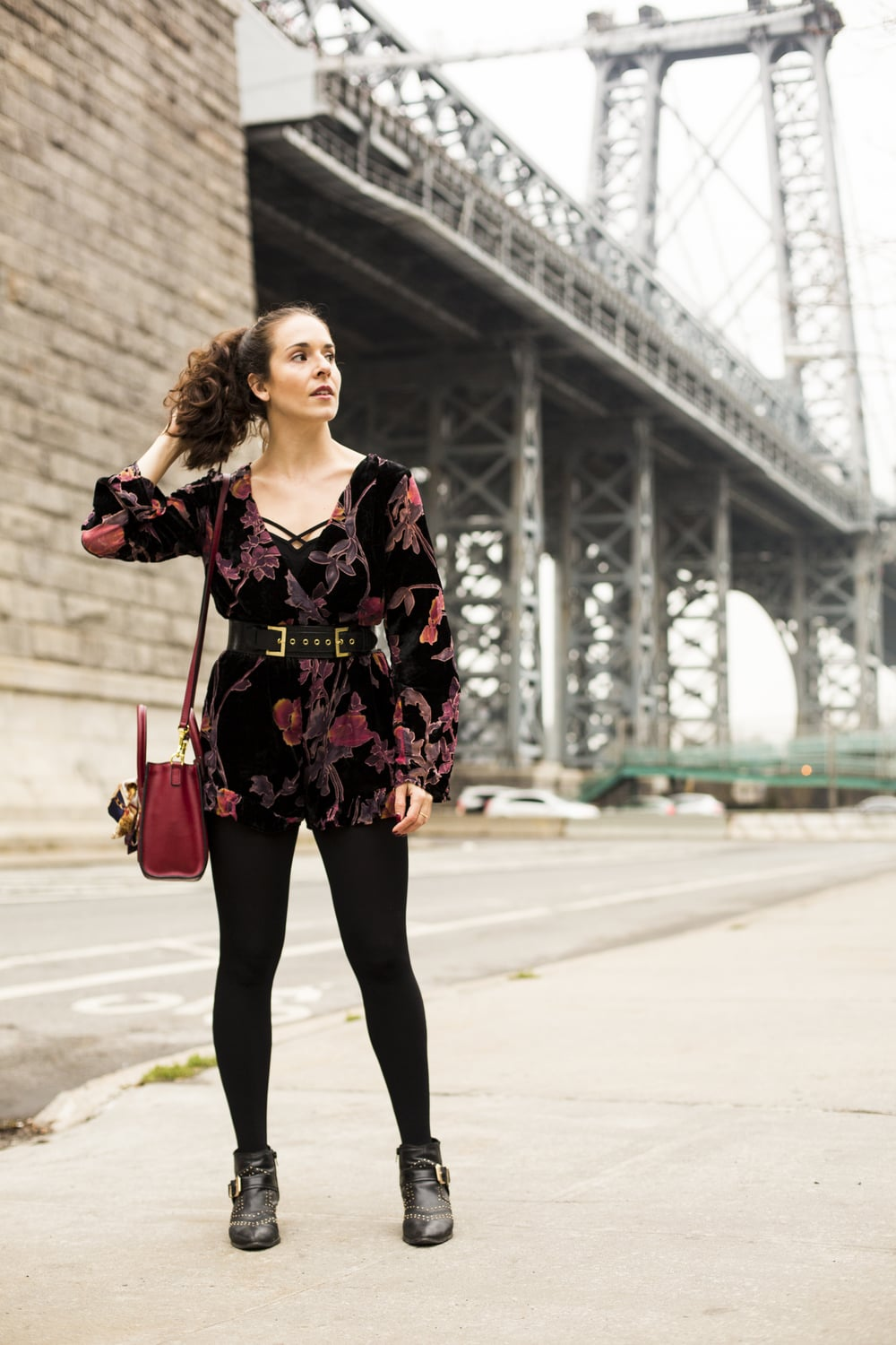Velvet 12th Tribe romper and Celine Nano Crossbody bag shot in LES Manhattan by Francisco Graciano