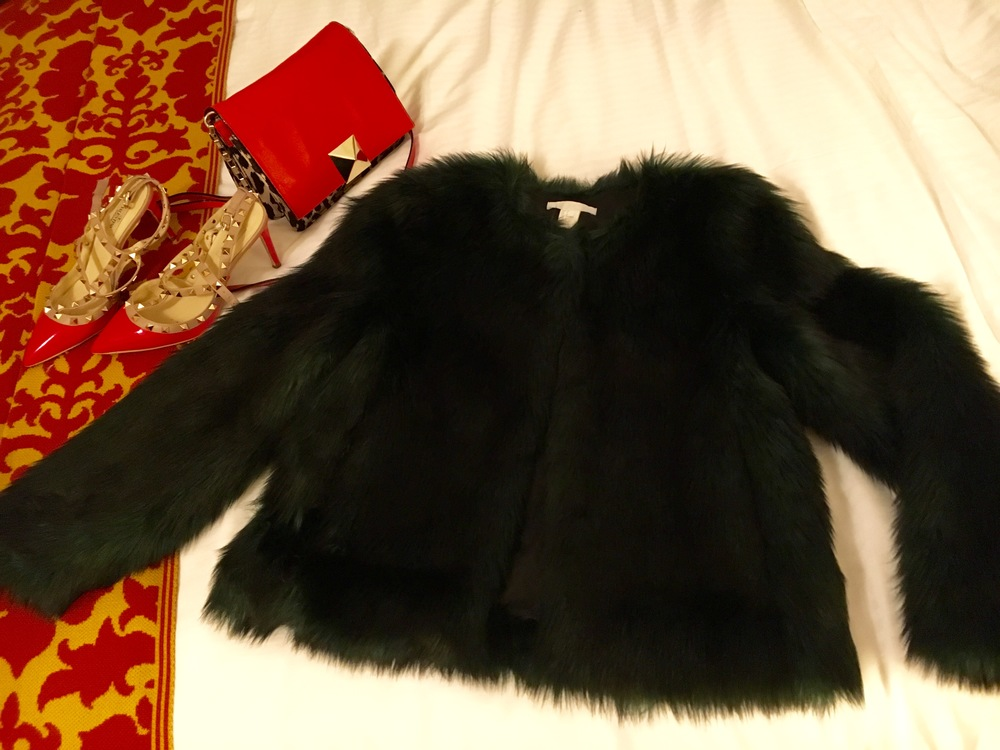 My new  H&M  faux fur with  Valentino  rock studs and  Kate Spade  purse.