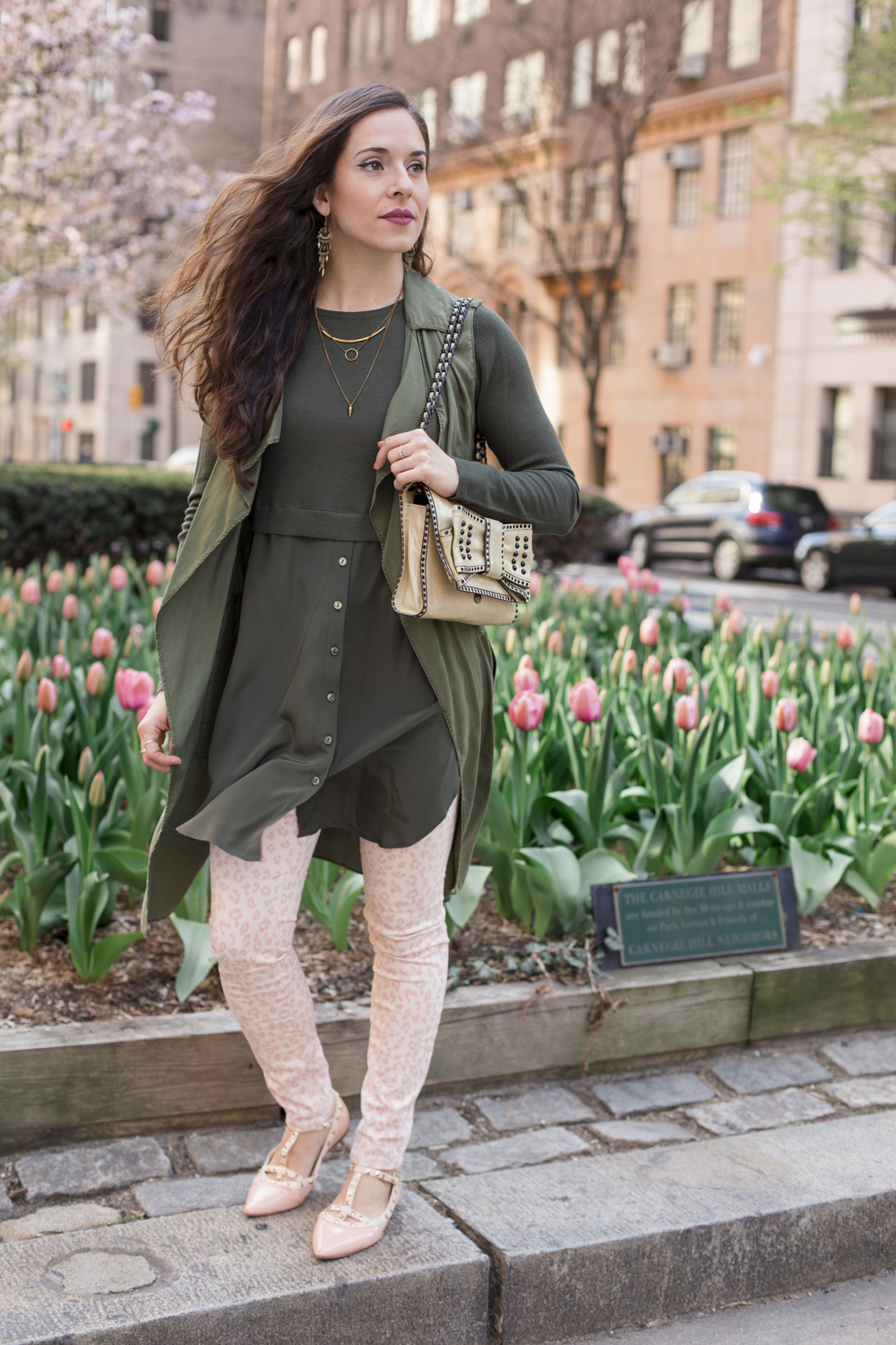 In my  W by Worth  top,  Zara  long vest,  H&M  skinnies,  Valentino  rock stud flats, and  Rebecca Minkoff  purse while strolling Park Ave.  Photography by  Francisco Graciano .
