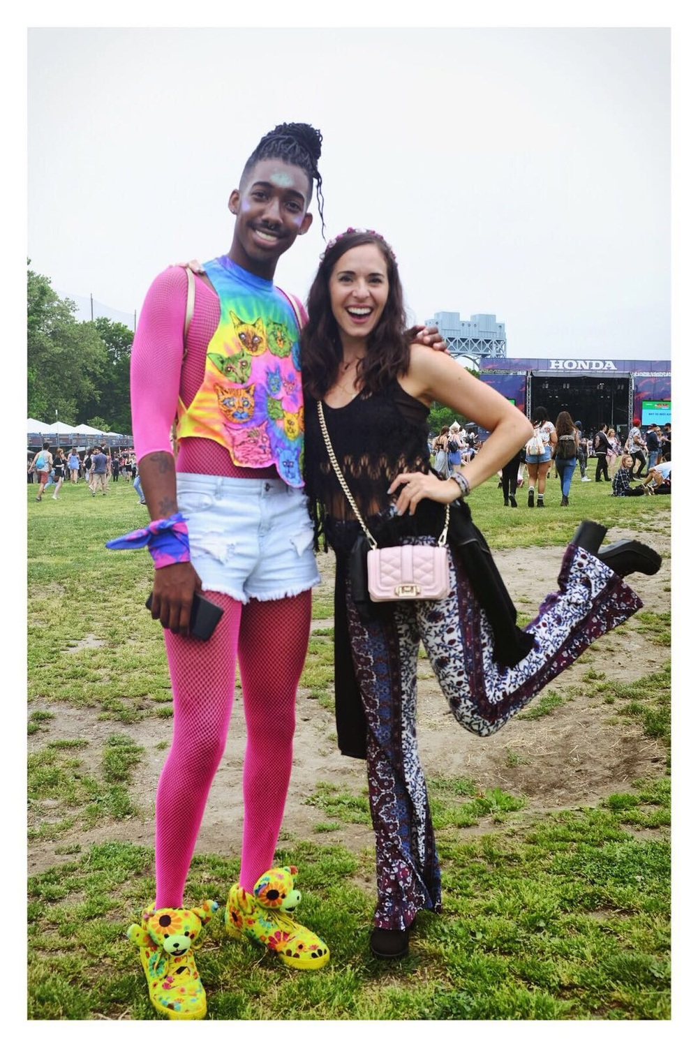 Having a ball at the Governors Ball music festival in NYC recently! Wearing  12th Tribe  pants,  Free People  top,  H&M  platform booties, and a  Rebecca Minkof f purse (the mini Love Crossbody).