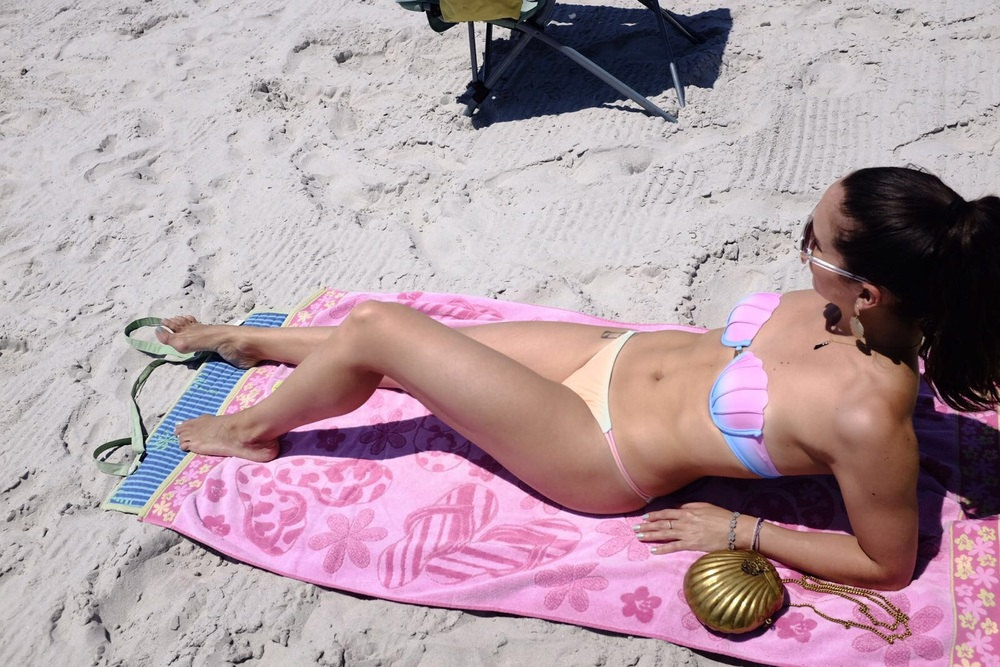 Wearing my  DressLily  shell bikini at the beach in the CT shoreline. Photo by  Francisco Graciano .