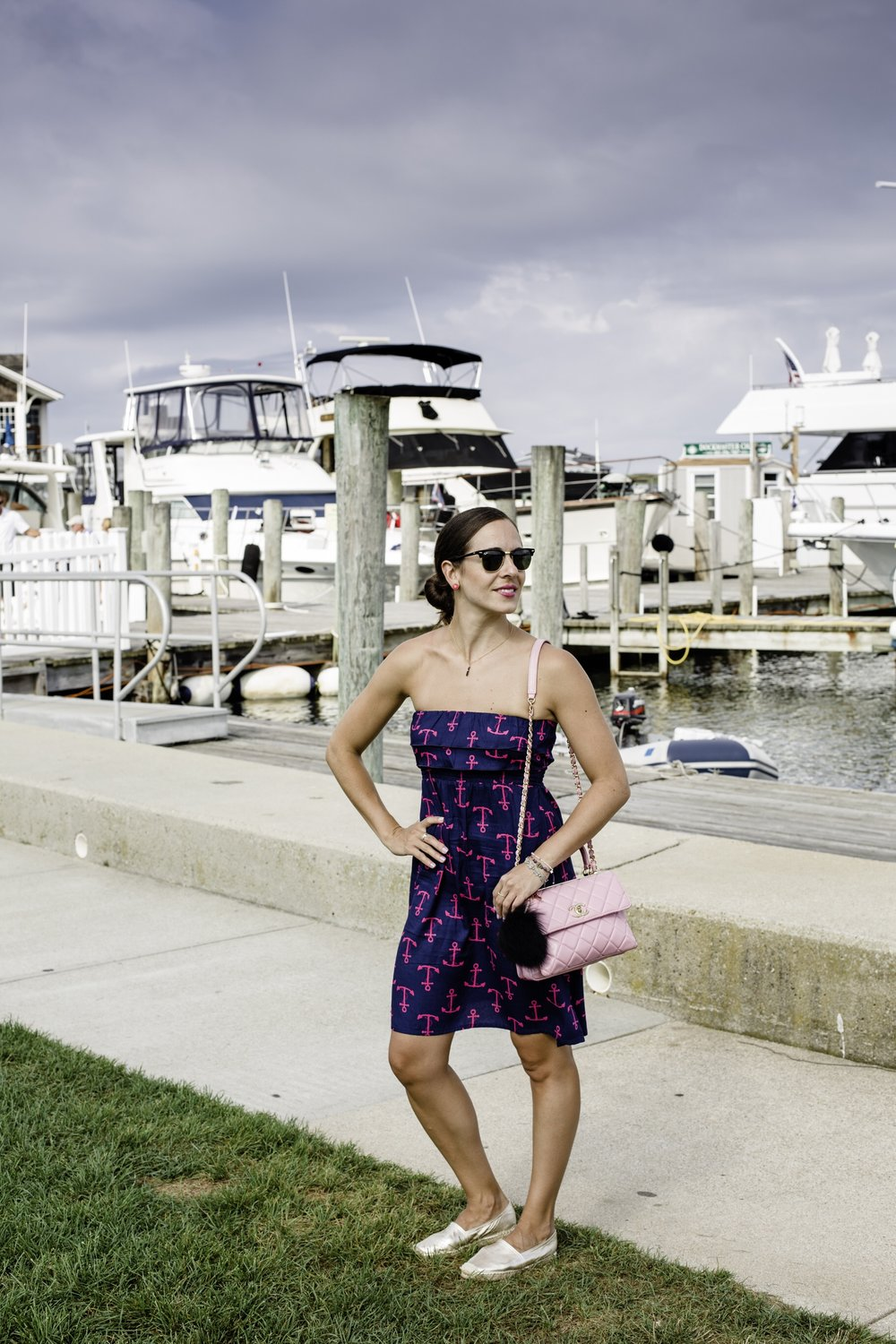 Wearing my new anchor dress I bought in a small boutique on Block Island this summer by designer Escapada, and gold Maypol espadrille flats also a recent buy from TJ Maxx. I topped it off with an oldie but goodie pink Chanel quilted purse. Photography by Francisco Graciano.
