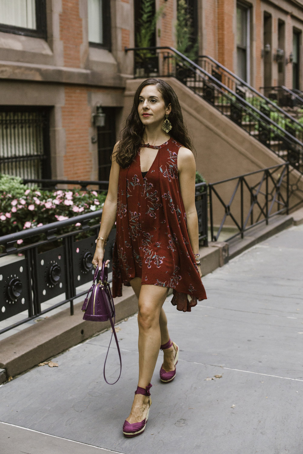 Wearing my Free People Tree Swing Sleeveless Printed Top as a dress (because I have a short torso don't judge me), Gap espadrille wedges in a plum color with matching plum Louis Vuitton Mini alma bag. Photography by Francisco Graciano.