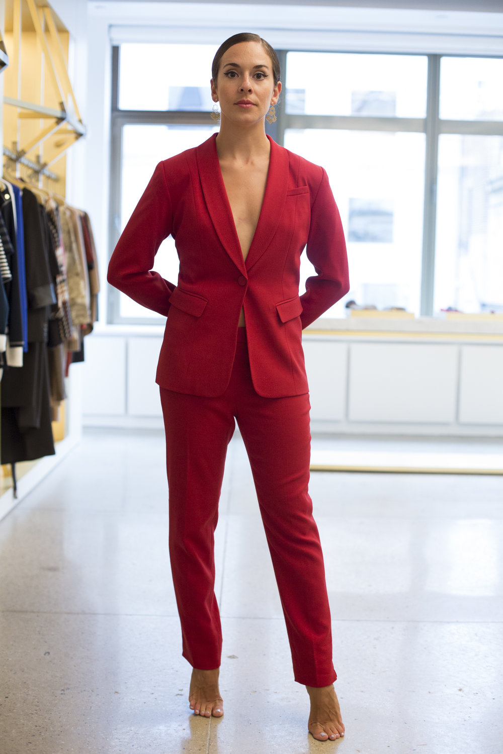 I've dreamed of a red suit for a while, very tailored and longer with a black pump...