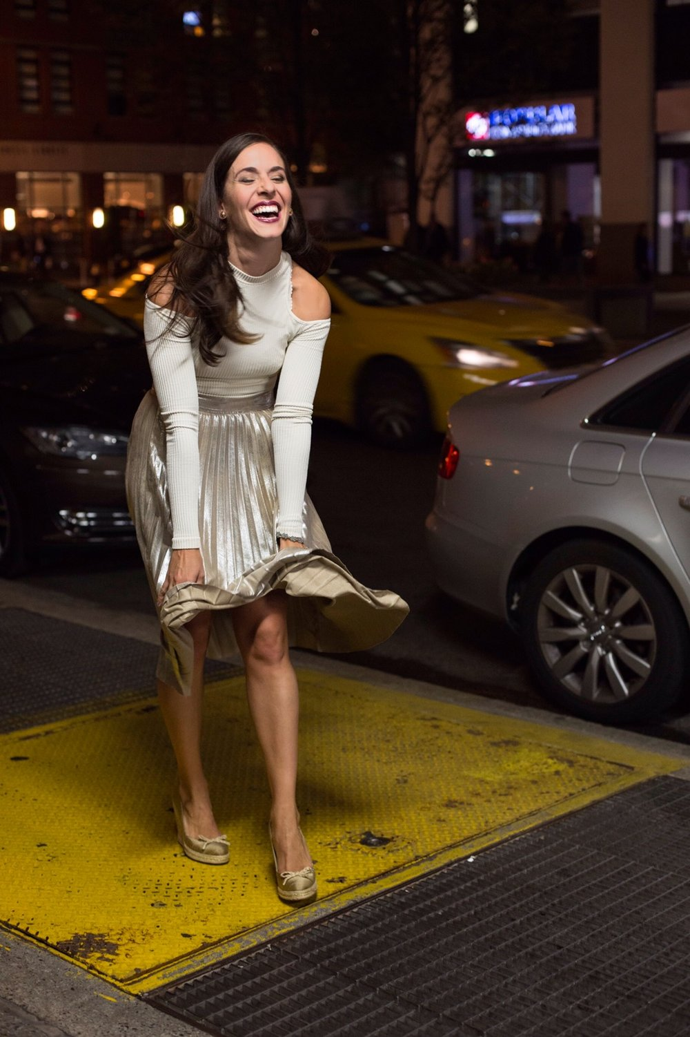 "In this look I styled a  Zara  gold pleated a-line skirt with  Free People  Prima ballerina top and  Kate Spade  ""wish"" espadrille wedges. Photography by  Francisco Graciano ."