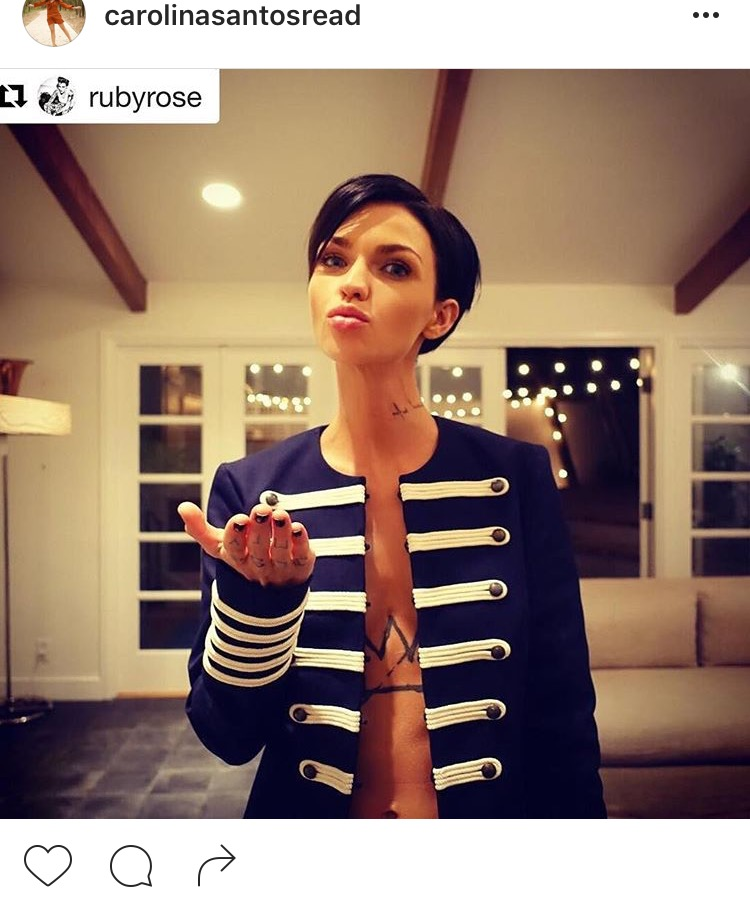 My fave TommyxGigi jacket on actress and girl crush Ruby Rose. She edges up a nautical look naturally. Her sleeve tattoos are beautiful.